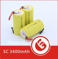 Wholesale 1000pcs Ni-Cd SubC battery pack Sub C 3400mAh Rechargeable Battery Tab Yellow High Quality New