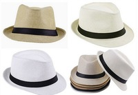 Free Shipping 2013 Fashion Unisex Solid Braid Fedora Trilby Gangster Cap Summer Beach Sun Straw Panama Hat