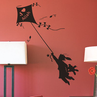 Free Shipping  High quality Carved(not print) wall decor decals home stickers art PVC vinyl Kite Girl K-163