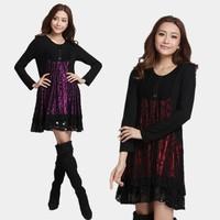 New 2013 Women cotton lace flower printed dress large size women's autumn knit long sleeve dress puls size silver lace dress
