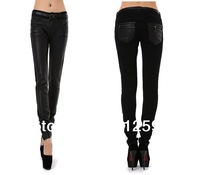 Free Ship new women plus size leather denim mixed pants female patchwork trousers skinny slim pants high waist lift hip party