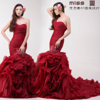 Miss 2013 Wine red tube top slim waist and fish tail wedding dress lace bride wedding dress