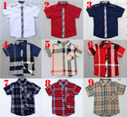 Free Shipping New Grid side boys shirt short sleeve plaid childrens British Style shirts kids short sleeve tops fit 2-7years(China (Mainland))