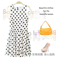 Free Shipping 2013 Slim Polka Dot Print Stretch Fabric Sleeveless One-piece Dress Dot Skirt