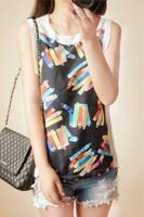 Free Shipping Sweet Crayon Print Chiffon Velvet Patchwork Sleeveless Chiffon Vest Shirt