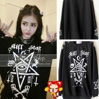 New 2014 autumn harajuku Fashion kill star women sweatshirt gauze print pentacle strapless hoodies long sleeve Bottoming shirt