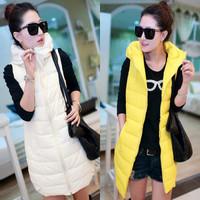 Winter medium-long PU 2013 slim women's cotton down vest