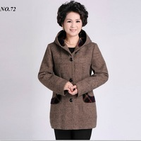 XXXL/XXXXL Lady Hooded Outwear Good Quality Cotton & Cashmere Middle & Older Age Female Trench Coats Wholesale Price
