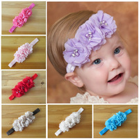 Free shipping Retail Infant baby headband hand stitching rhinestone pearl chiffon flower headbands for girls 1pcs/lot FDA14