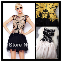 2014 spring summer women's flowers embroidery patchwork slim sleeveless one-piece dress free shipping 424