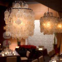 Free Shipping! American Brief Bar Counter Livingroom Lamp Large Natural Shell Verner panton Pendant Light White