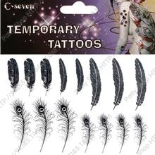 Tatuagem adesivos Mulheres à prova d'água body art T012 pena de pavão temporária(China (Mainland))