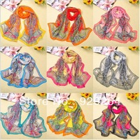 Free shipping wholesale  New Women's Fashion Satin Chiffon scarves Long Wrap Shawl Beach Silk Scarf FX-008
