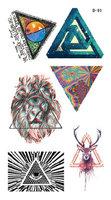 Temporary Tattoo stickers New arrival w123 HARAJUKU abstract lion head triangle deer  tattoo  body art