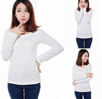 Free Shipping 2014 New Women Korean Women Slim long-sleeved shirt plus velvet warm backing
