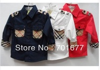 brand knight british style plaid long sleeve shirt kids clothes children clothing 0#130710