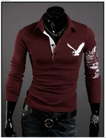 New Arrived Mens Long Sleeve T Shirt slim fit ,Polo shirt Fashion T-shirt free shipping 3 color 4 size 5505