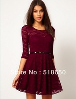 The new Europe and the United States clothing candy color full lace long sleeve women sexy dress