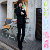 Winter teenage boys chinese tunic suit slim woolen blazer fashion les t suit outerwear top