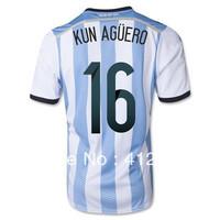 Argentina Kun Aguero Home Jersey 2014