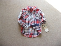 CS3184  free shipping Kids boys plaid long sleeve  short sleeve spring autumn shirt  2-9y