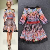 Best Grade! 2014 Summer women Colorful Flower Printed Half Sleeve A-Line Designer Novelty Dress Vintage Flower Pattern Dress
