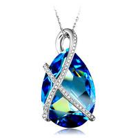 Women Blue water drop crystal necklace pendant colgante collar pingente collier pendentif  joyas Schmuck bijoux