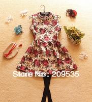 2013 New best seller woman's sleeveless printed flower princess dress free shipping A096