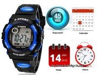 Min.order Min.order is $10 (mix order)Digital LCD LED Backlight Date Sportwatch waterproof Rubber Unisex /baby Sport Wrist Watch