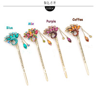 FreeShipping ,(3pcs/lot)Vintage hair sticks peacock hair sticks for women hair ornment colorful hair pin jewery