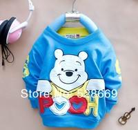 New BIG Sale 4pcs/lot Baby Boys Girl Cartoon Bear T-shirts Cotton Kids Sweater Shirts Children Wear Long Sleeve Clothes Clothing