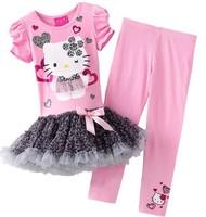 Wholesale Autumn-summer Girl Dress Suit Kids Clothes Set Hello Kitty Leopard Tutu Dress + Kids Pants Outfits Girls Clothing Sets