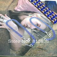 Free Shipping 2Pairs/lot Blue Crystal Rhinestone Imitation Shoulder Bra Strap Halo Ladies'  Apparel Jewellery BB172-104