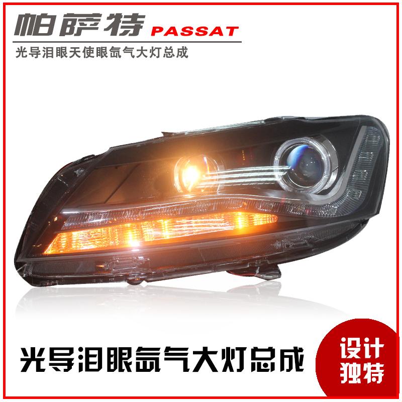 Passat headlights refires 11 led angel eyes dacryops xenon passat headlight assembly(China (Mainland))