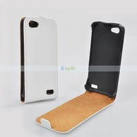 Pure Color Genuine Vertical Leather Flip Case for HTC One V by DHL