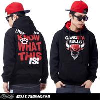 Heybig bulls gangsta 100% cotton thickening lovers design sweatshirt outerwear