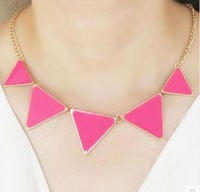 Min. Order 10$ +Mix Order N4171 fashion popular punk triangle oil drop exaggerated necklace
