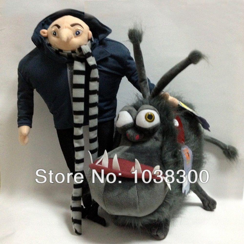 Anime Free shipping one set(1set=2pcs)Despicable Me Movie Gru's Dog Kyle 30cm &Gru39cm Soft Plush Toy Doll Wholesale(China (Mainland))