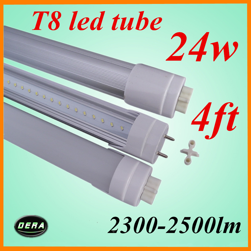 free shiping 50pcs/lot T8 24W G13 1200mm led light bulb 2300-2500lm 85-265V 4ft led florescent tube lamp factory outlet(China (Mainland))