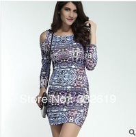 The new polyester vestidos casual free shipping print dresses plus size novelty party dresses new fashion 2014