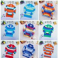 6pcs/lot 4-9 ages boy's t-shirt Children 100% cotton stripe lapel  long sleeve t-shirt for boy long sleeve tops