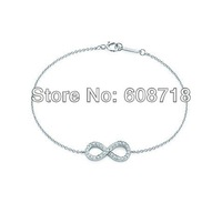 2014 Spring Newest Designer INFINITY BRACELET,In Platinum Plated With Dazzling Gemstones.Elegant Charm Chain Bracelet For Women