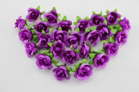 100 PCS Deep Purple Silk flowers head roses wedding decoration