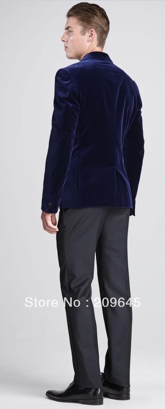 Mens Suit Jacket Blue Men Dark Blue Velvet Suit