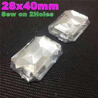 50Pcs of 28x40mm Crystal Clear Color Sparkly Faceted Rectangular Octagonal Sew on Acrylic Flatback with 2 Holes