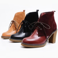 Fashion Genuine Leather Thick Heel Ankle Boots Women Lacing Cowhide High-heeled Shoes First Layer Leather Platform Martin Boots