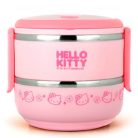 High quality Double stainless steel insulated lunchbox Hello kitty storage box Women office lunch box Keep warm bento boxes