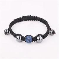 2013 new fashion crystal jewel shamballa bracelets navy blue jewel charming disco ball bead with brocade