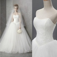 High Quality New 2014 Real Sample Hot Sale Fashion Strapless Tulle Lace Ball Wedding Gown Wedding Dresses Bridal Dress