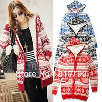 Women's Knitwear Thick Warm Winter Warmly Hoodies Cardigan Xmas Sweater Tops Zip Hoody Coat 1pcs/lot Free Shipping